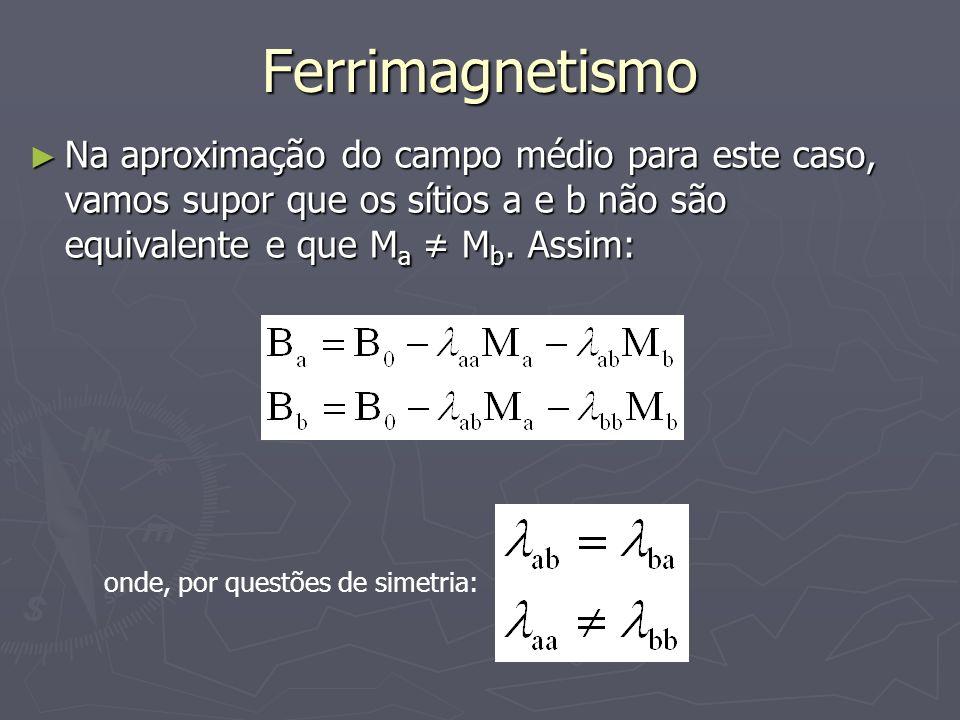 Ferrimagnetismo Na aproximação do campo médio para este caso, vamos supor que os sítios a e b não são equivalente e que Ma ≠ Mb. Assim: