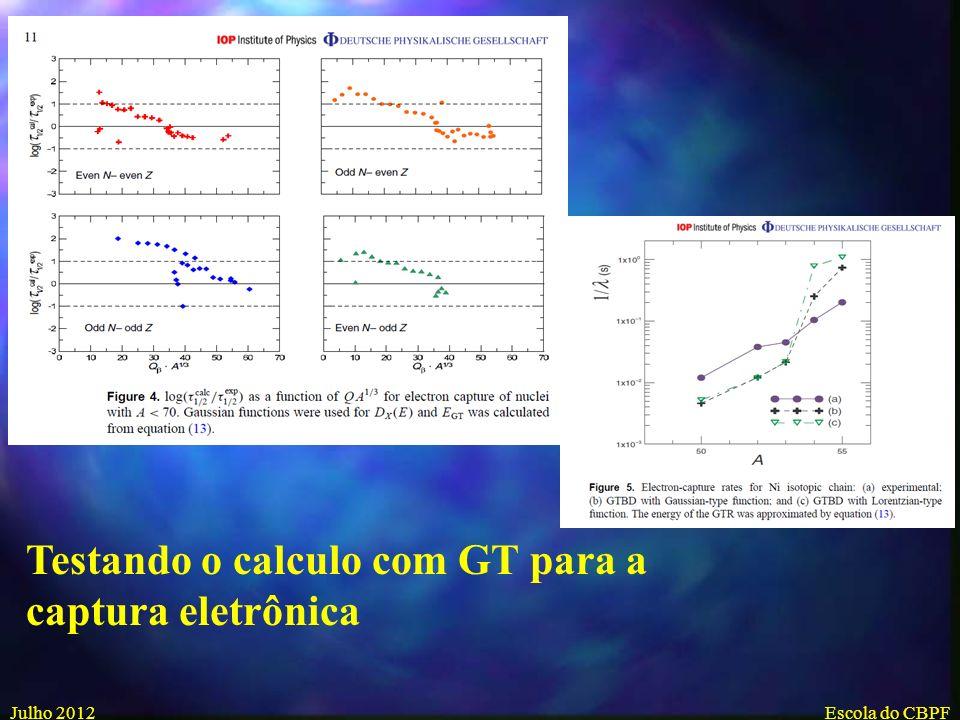 Testando o calculo com GT para a captura eletrônica