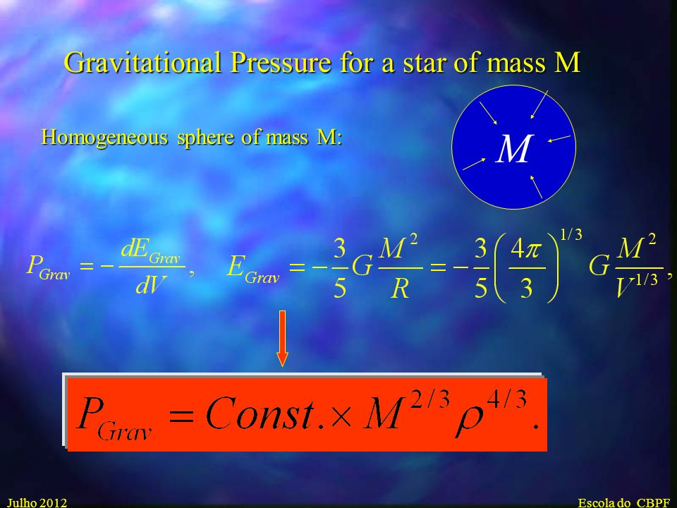 M Gravitational Pressure for a star of mass M