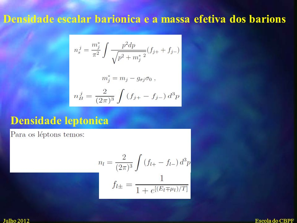 Densidade escalar barionica e a massa efetiva dos barions