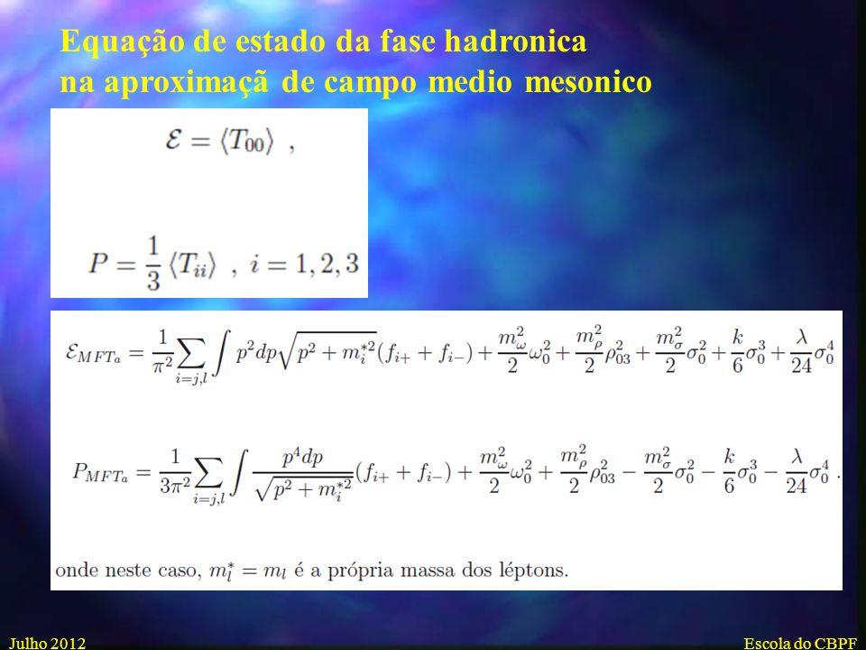 Equação de estado da fase hadronica