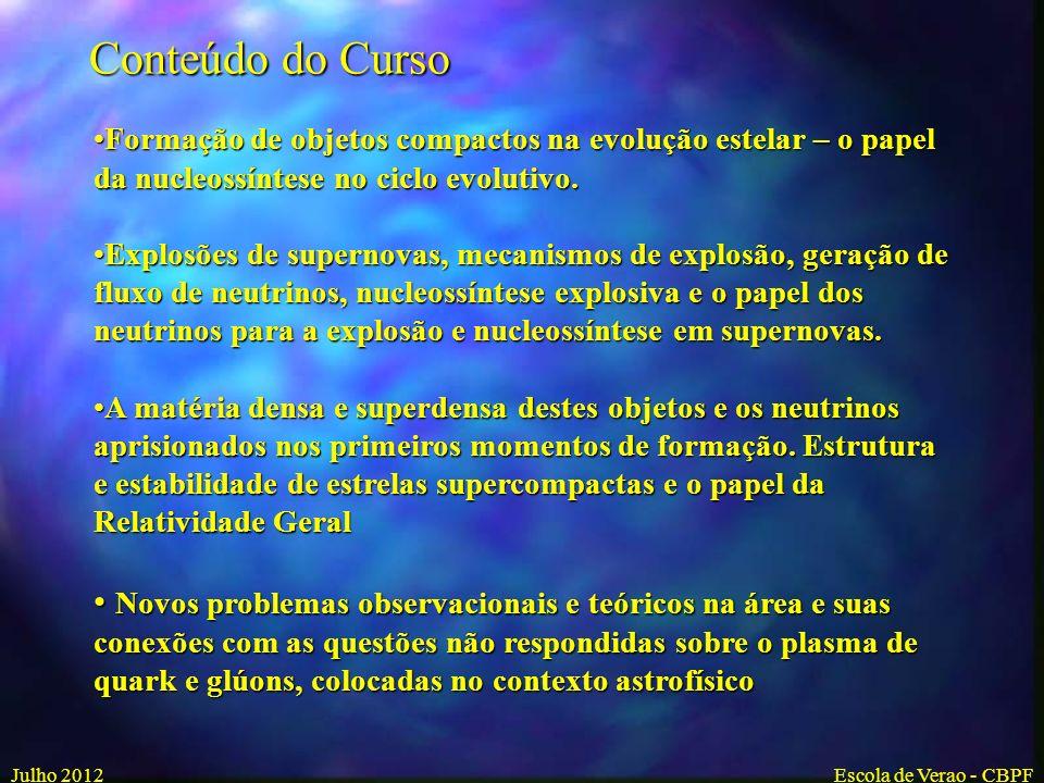 Conteúdo do Curso Formação de objetos compactos na evolução estelar – o papel da nucleossíntese no ciclo evolutivo.