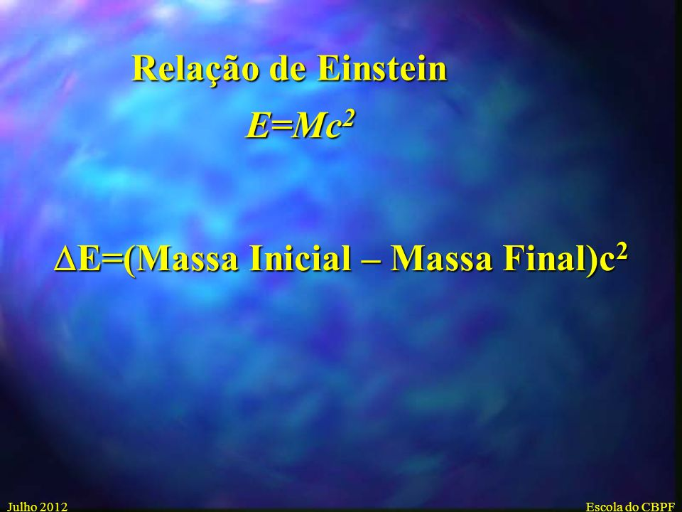 DE=(Massa Inicial – Massa Final)c2