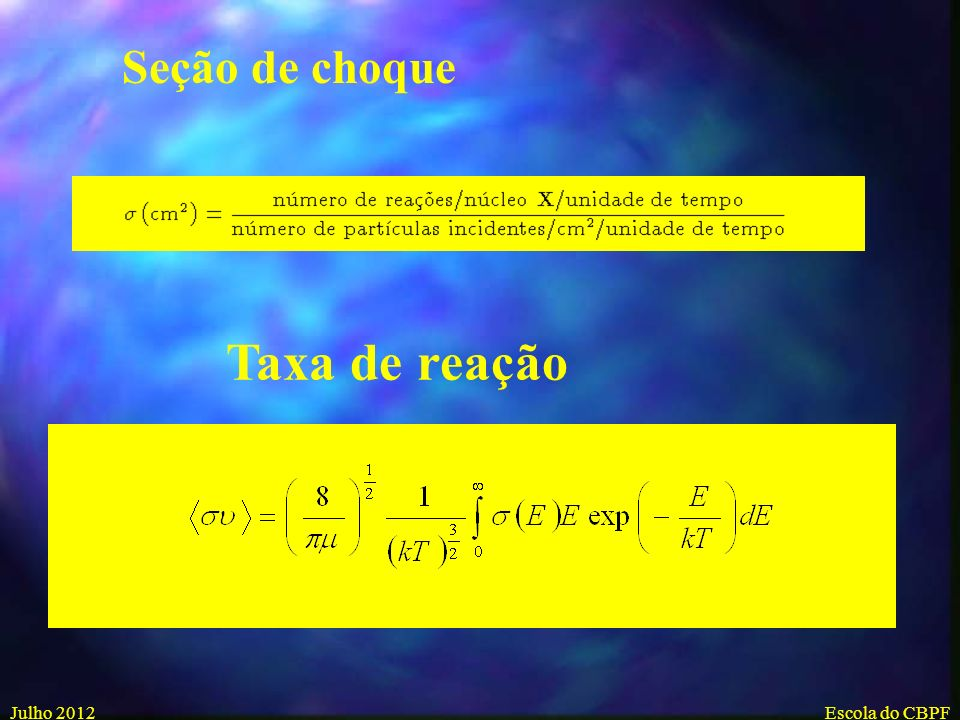 Seção de choque Taxa de reação Julho 2012