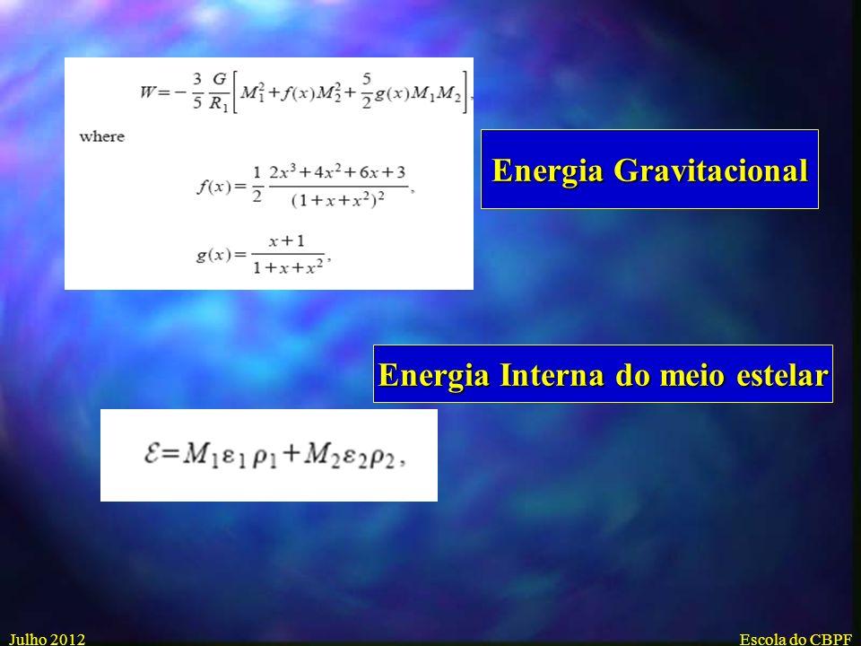 Energia Gravitacional Energia Interna do meio estelar