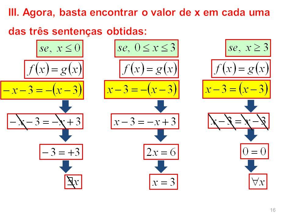 III. Agora, basta encontrar o valor de x em cada uma das três sentenças obtidas:
