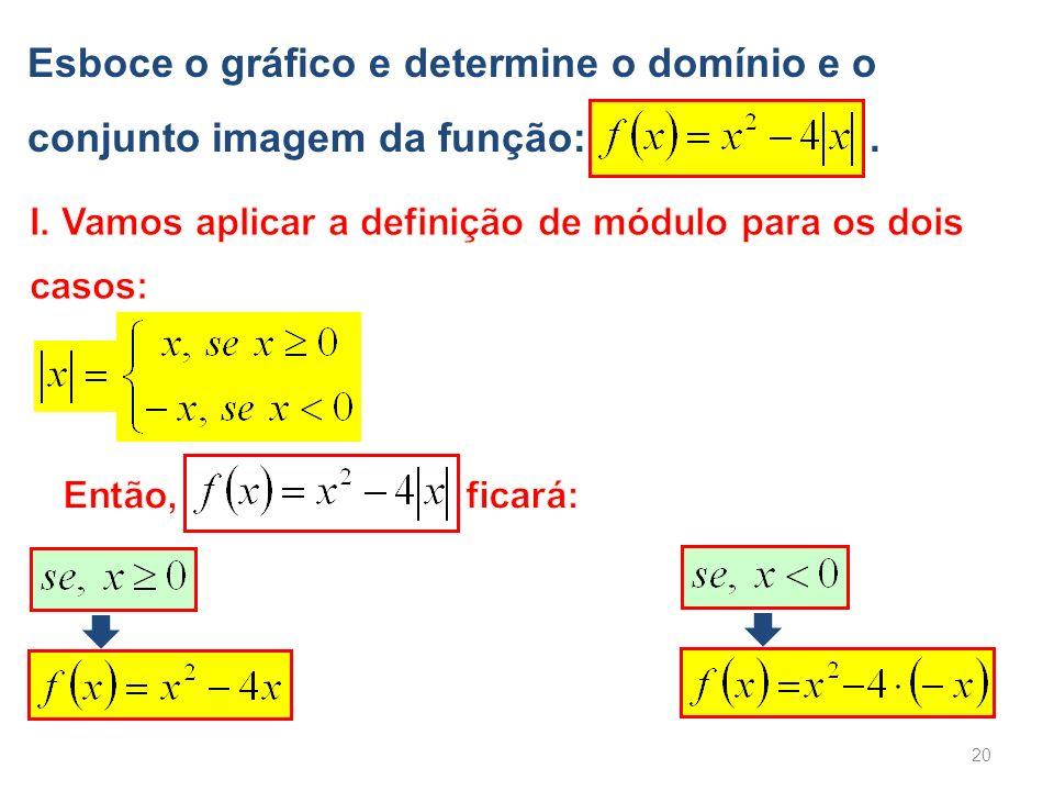 Esboce o gráfico e determine o domínio e o conjunto imagem da função: .