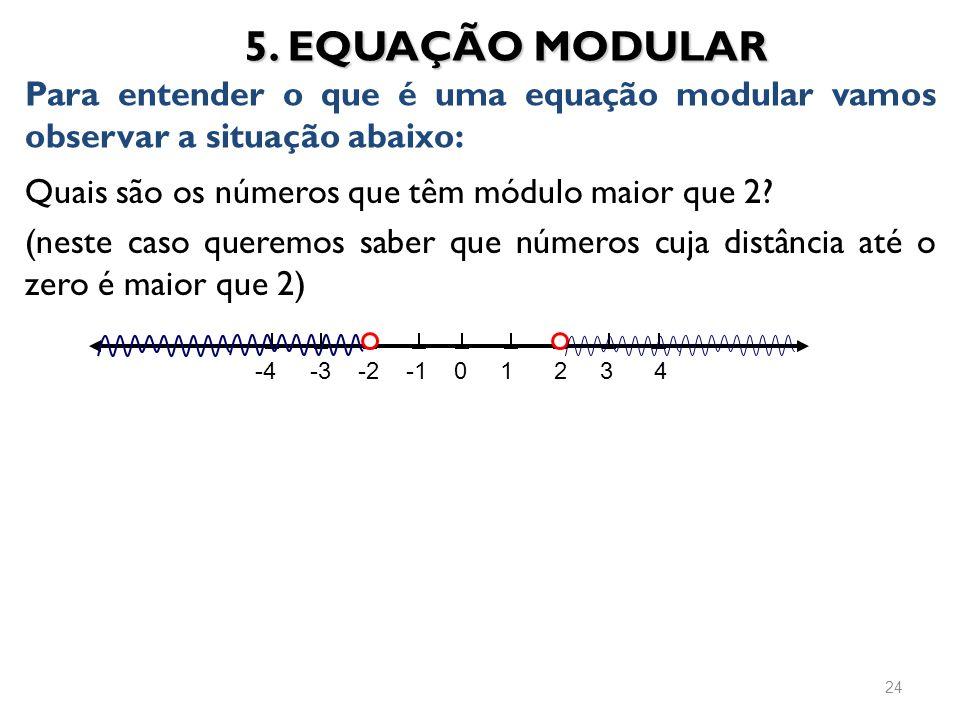 5. EQUAÇÃO MODULAR Para entender o que é uma equação modular vamos observar a situação abaixo: Quais são os números que têm módulo maior que 2
