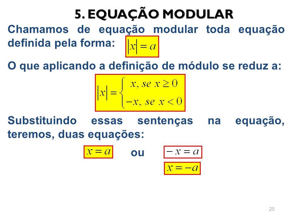 Chamamos de equação modular toda equação definida pela forma: