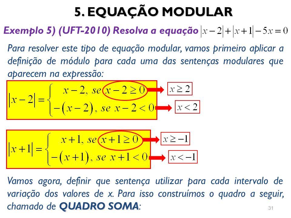 5. EQUAÇÃO MODULAR Exemplo 5) (UFT-2010) Resolva a equação