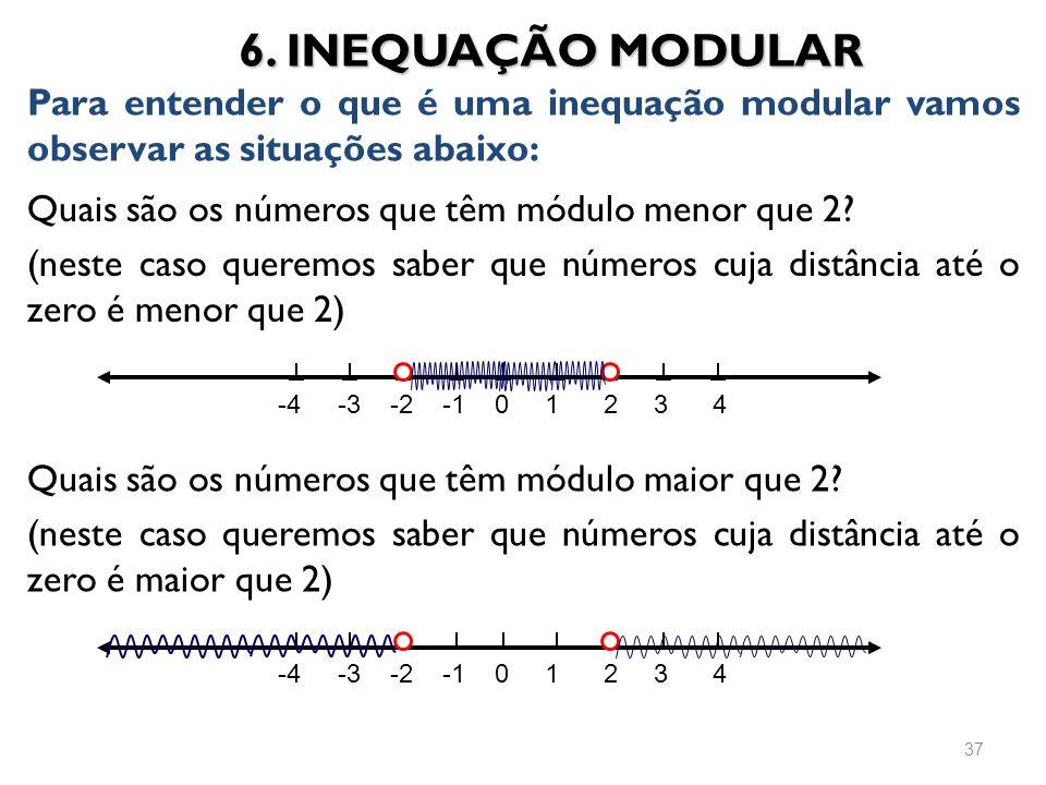 6. INEQUAÇÃO MODULAR Para entender o que é uma inequação modular vamos observar as situações abaixo: