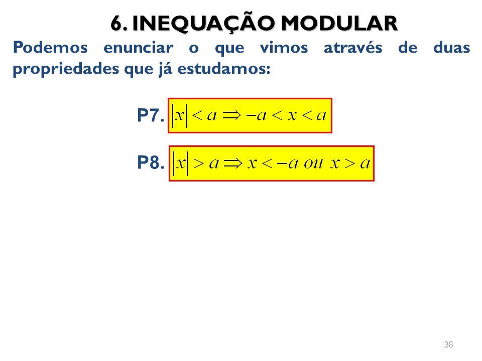 6. INEQUAÇÃO MODULAR Podemos enunciar o que vimos através de duas propriedades que já estudamos: P7.