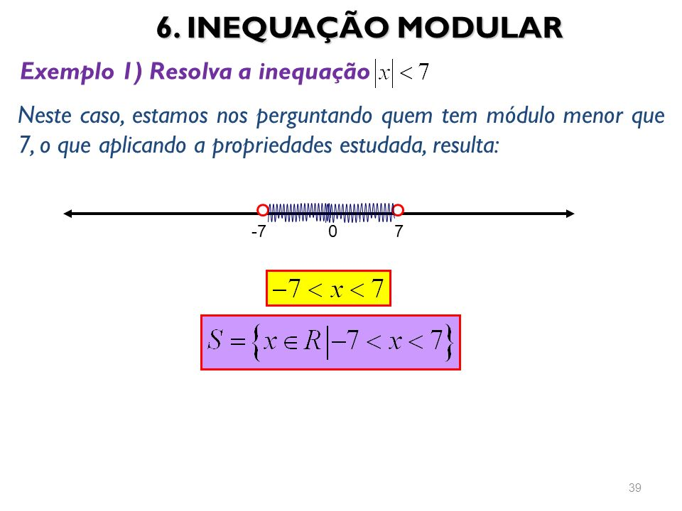 6. INEQUAÇÃO MODULAR Exemplo 1) Resolva a inequação