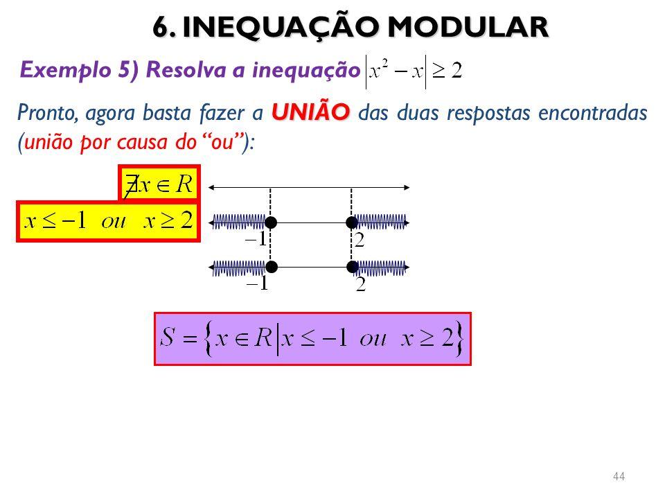 6. INEQUAÇÃO MODULAR Exemplo 5) Resolva a inequação