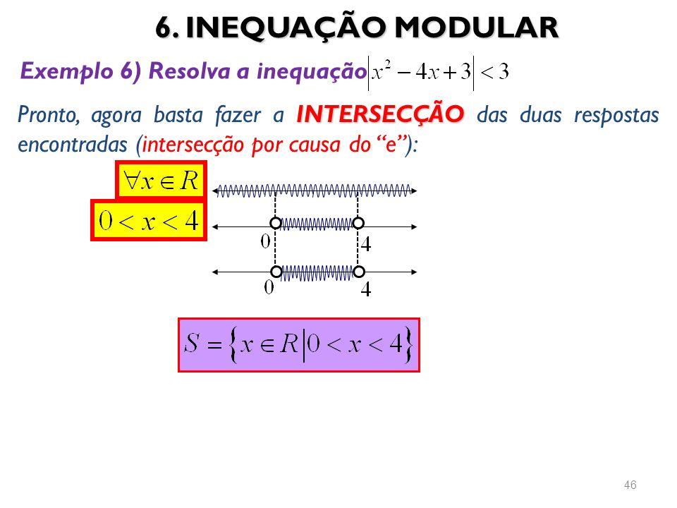 6. INEQUAÇÃO MODULAR Exemplo 6) Resolva a inequação