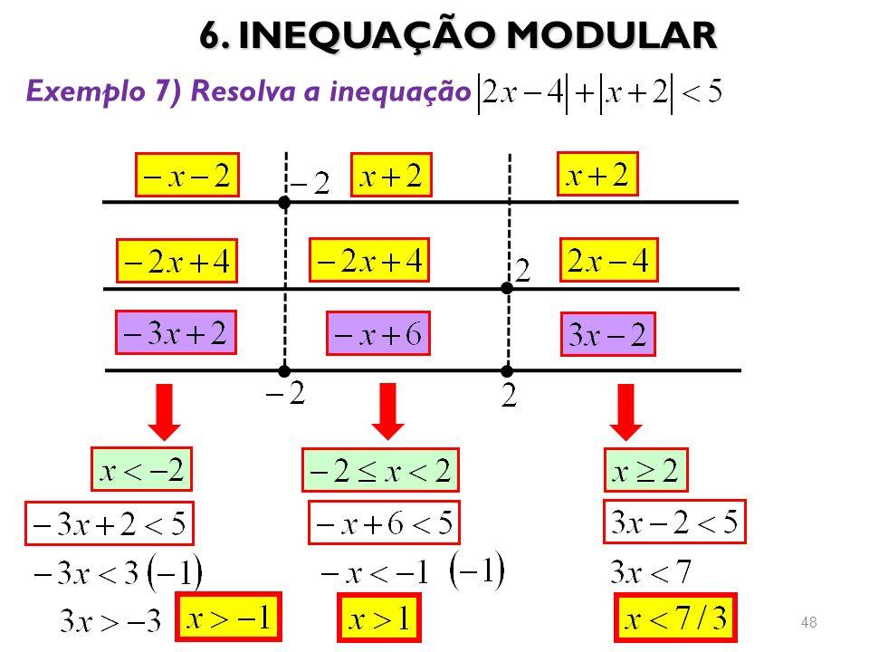 6. INEQUAÇÃO MODULAR Exemplo 7) Resolva a inequação