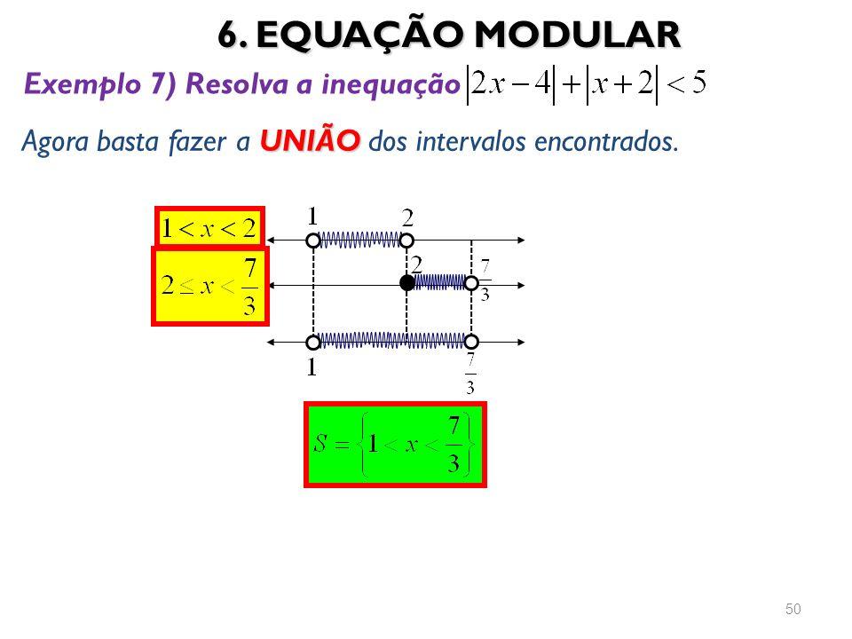 6. EQUAÇÃO MODULAR Exemplo 7) Resolva a inequação