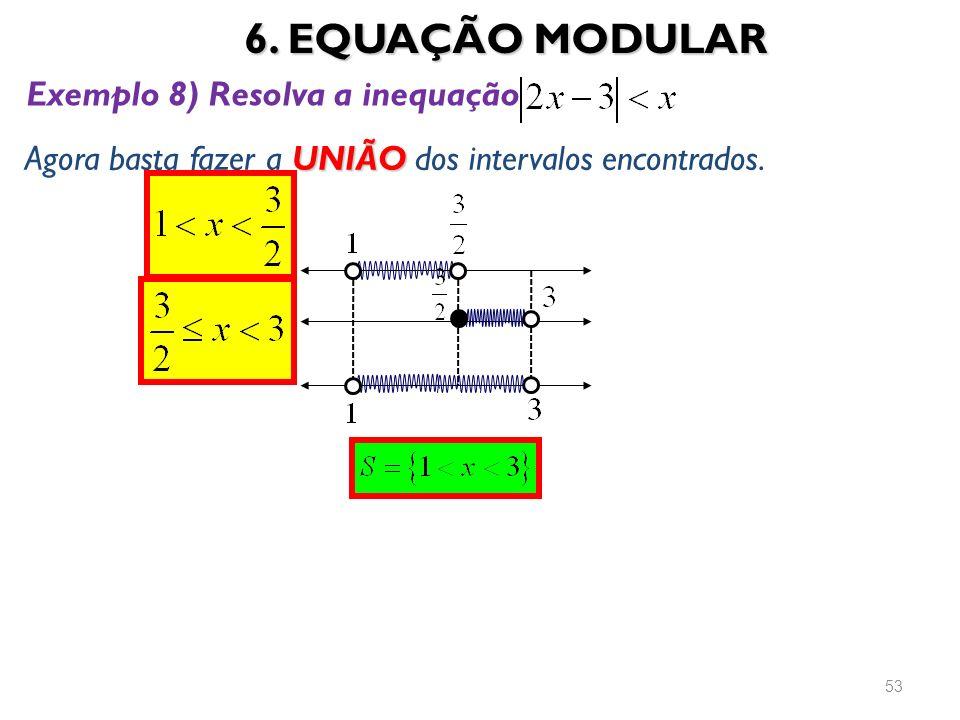6. EQUAÇÃO MODULAR Exemplo 8) Resolva a inequação