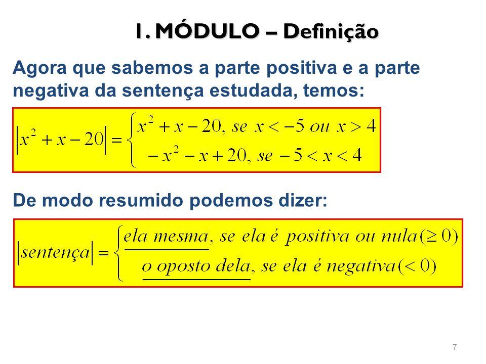 1. MÓDULO – Definição Agora que sabemos a parte positiva e a parte negativa da sentença estudada, temos: