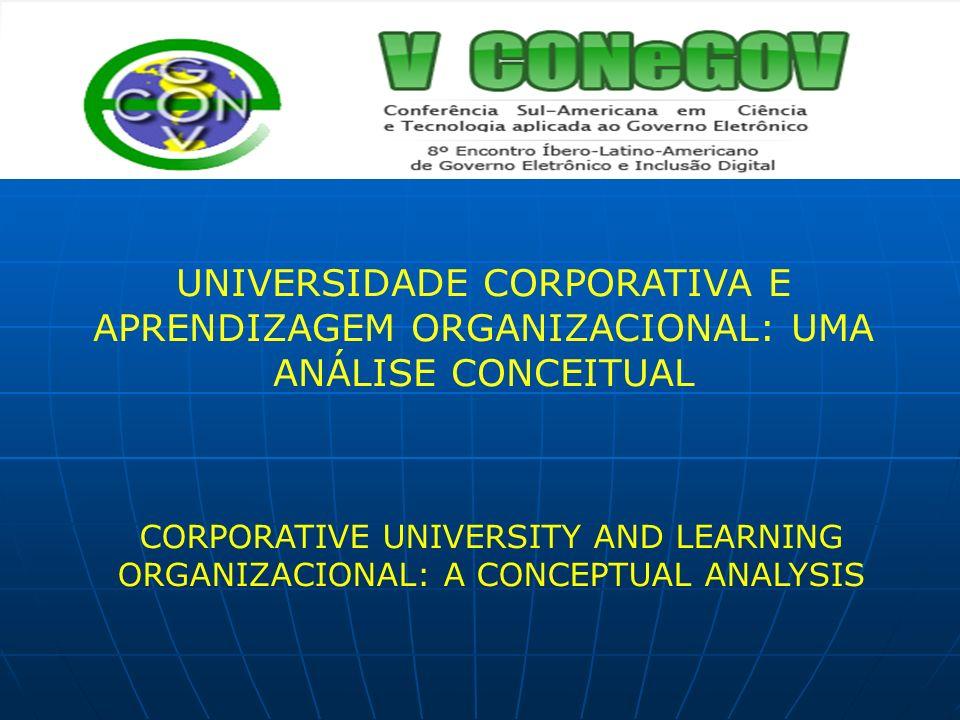 UNIVERSIDADE CORPORATIVA E APRENDIZAGEM ORGANIZACIONAL: UMA ANÁLISE CONCEITUAL