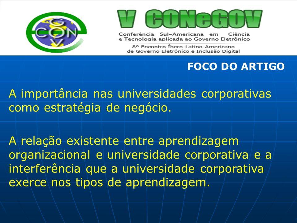 FOCO DO ARTIGO A importância nas universidades corporativas como estratégia de negócio.