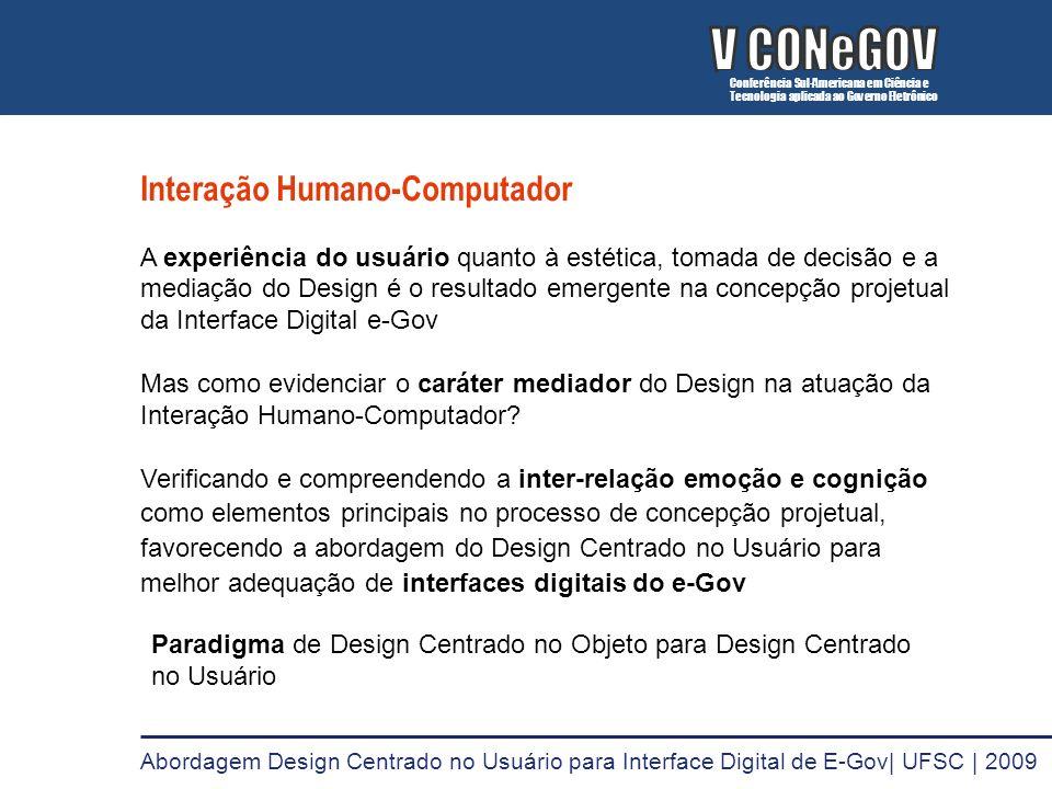 V CONeGOV V CONeGOV Interação Humano-Computador
