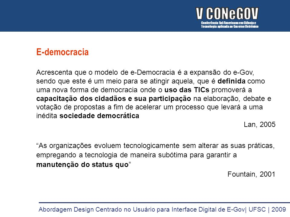 V CONeGOV V CONeGOV E-democracia