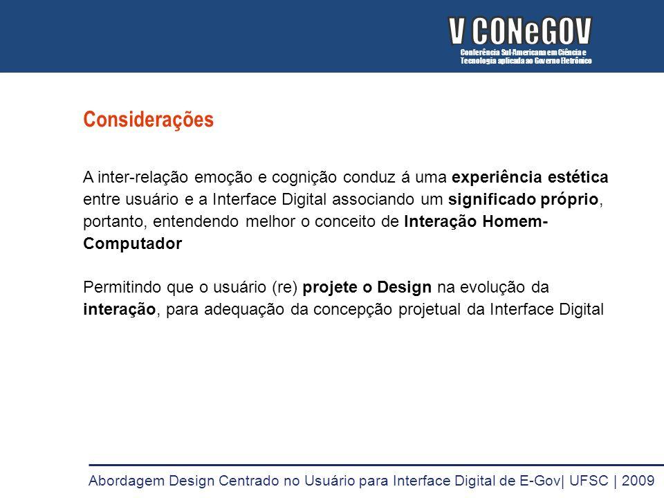 V CONeGOV V CONeGOV Considerações
