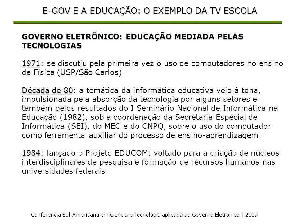 E-GOV E A EDUCAÇÃO: O EXEMPLO DA TV ESCOLA