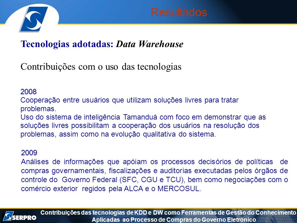 Resultados Tecnologias adotadas: Data Warehouse