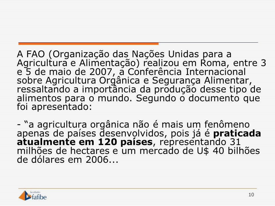 A FAO (Organização das Nações Unidas para a Agricultura e Alimentação) realizou em Roma, entre 3 e 5 de maio de 2007, a Conferência Internacional sobre Agricultura Orgânica e Segurança Alimentar, ressaltando a importância da produção desse tipo de alimentos para o mundo.