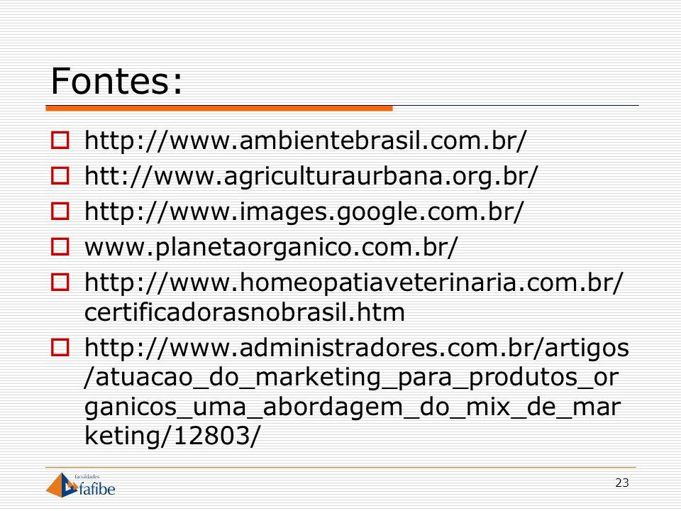 Fontes: http://www.ambientebrasil.com.br/