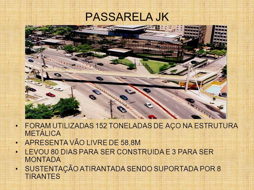 PASSARELA JKFORAM UTILIZADAS 152 TONELADAS DE AÇO NA ESTRUTURA METÁLICA. APRESENTA VÃO LIVRE DE 58,8M.