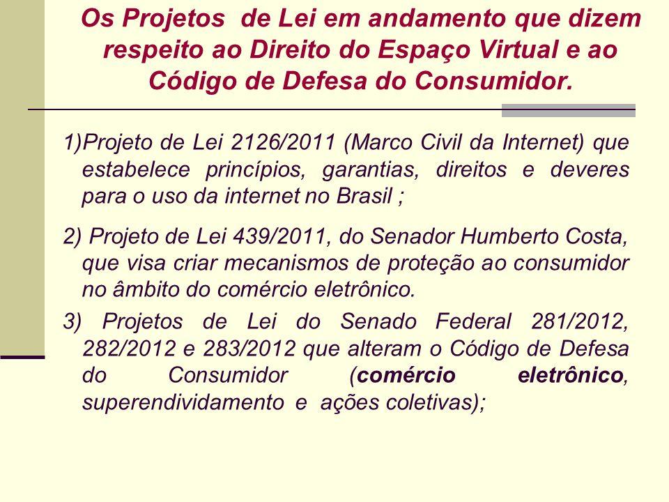 Os Projetos de Lei em andamento que dizem respeito ao Direito do Espaço Virtual e ao Código de Defesa do Consumidor.