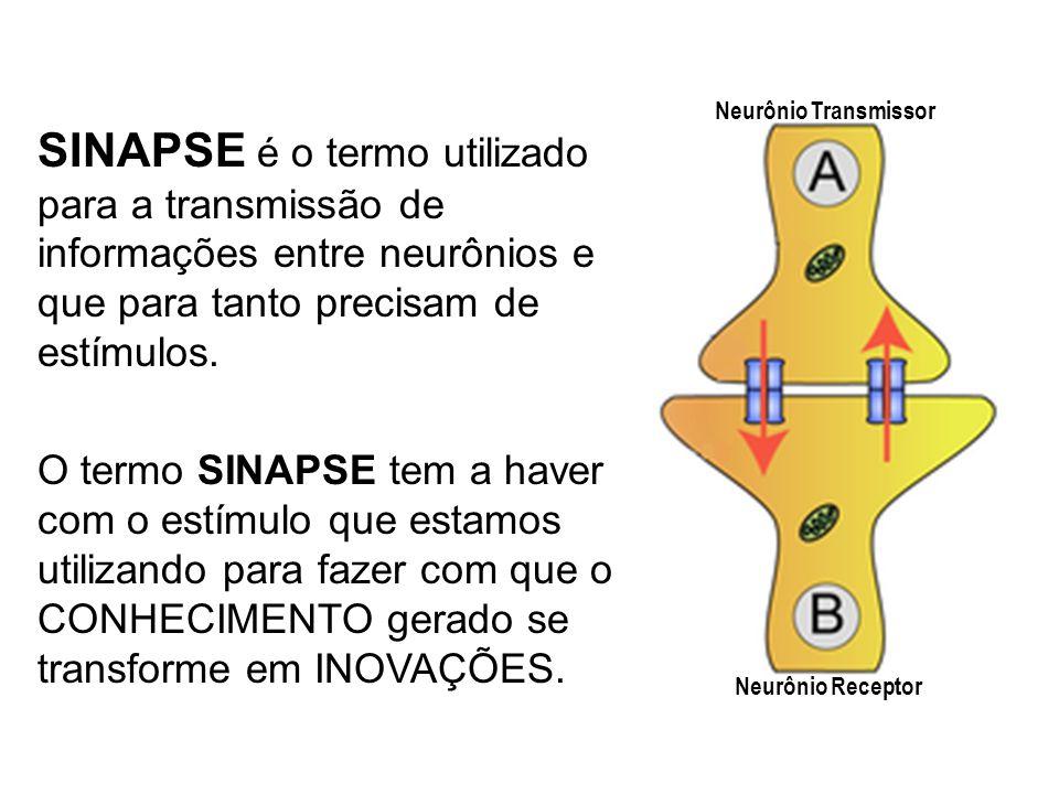 Neurônio Transmissor SINAPSE é o termo utilizado para a transmissão de informações entre neurônios e que para tanto precisam de estímulos.