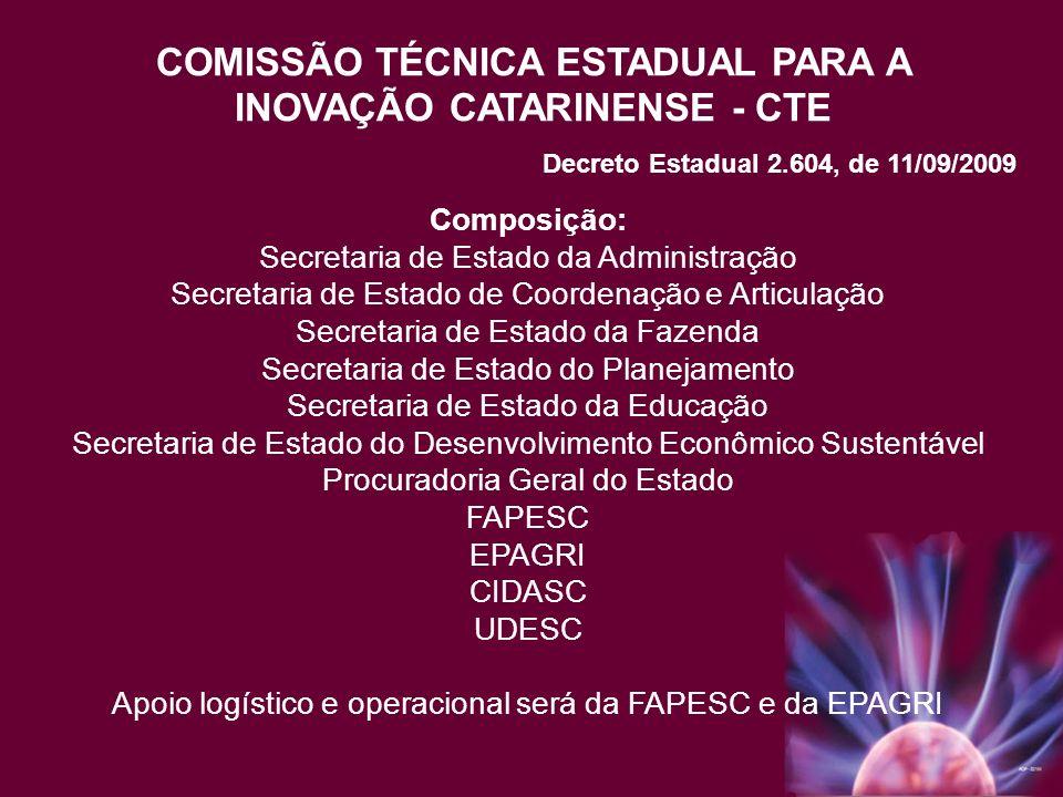 COMISSÃO TÉCNICA ESTADUAL PARA A INOVAÇÃO CATARINENSE - CTE