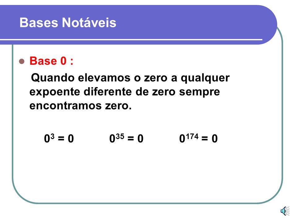 Bases Notáveis Base 0 : Quando elevamos o zero a qualquer expoente diferente de zero sempre encontramos zero.