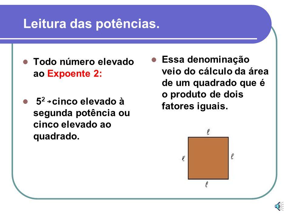 Leitura das potências.Essa denominação veio do cálculo da área de um quadrado que é o produto de dois fatores iguais.