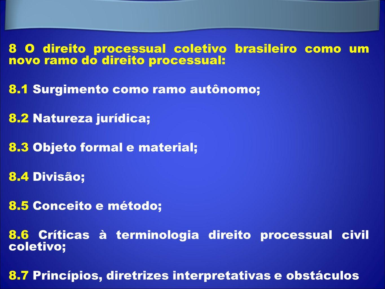 8 O direito processual coletivo brasileiro como um novo ramo do direito processual:
