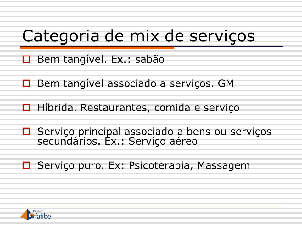 Categoria de mix de serviços
