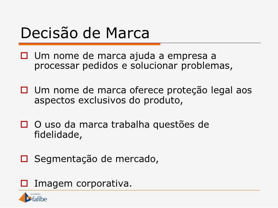 Decisão de Marca Um nome de marca ajuda a empresa a processar pedidos e solucionar problemas,