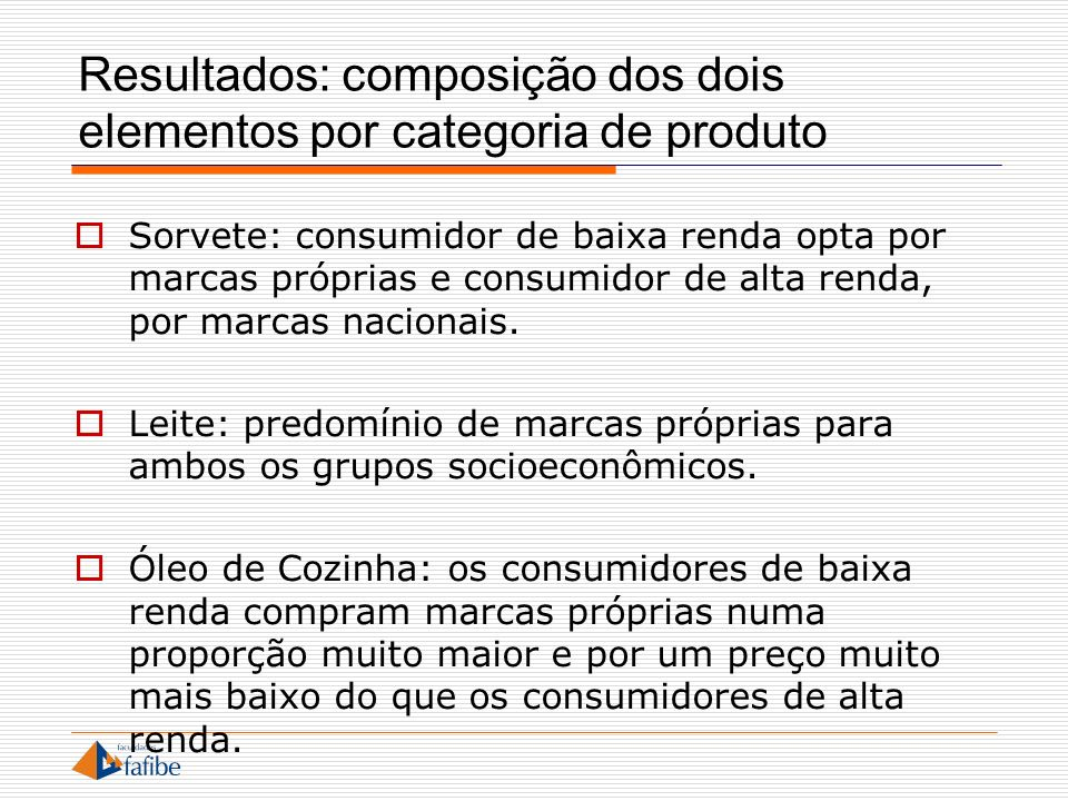 Resultados: composição dos dois elementos por categoria de produto