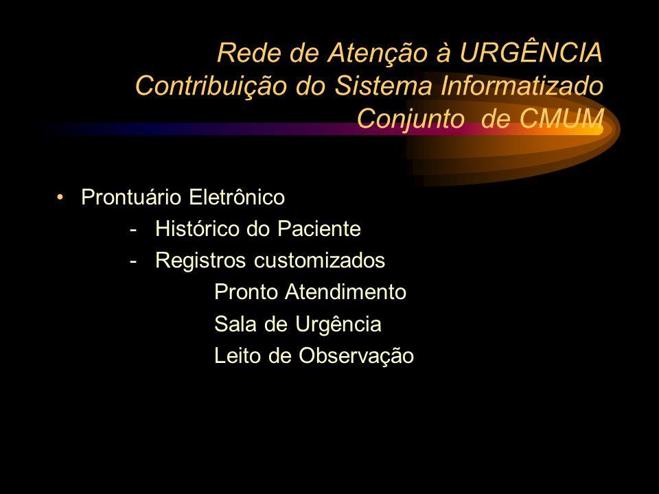 Rede de Atenção à URGÊNCIA Contribuição do Sistema Informatizado Conjunto de CMUM