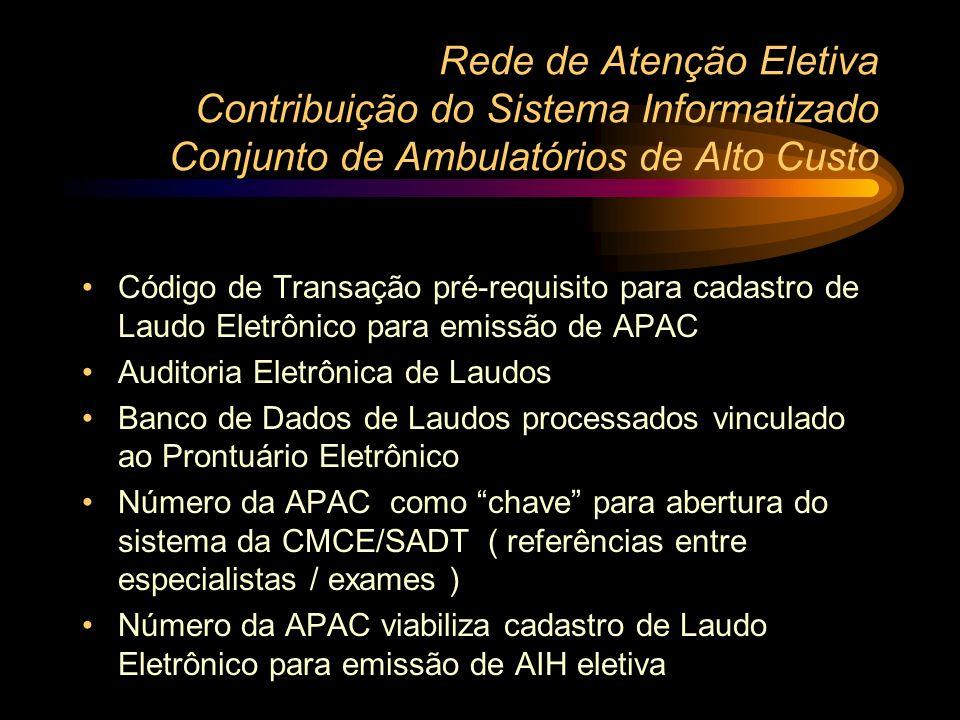 Rede de Atenção Eletiva Contribuição do Sistema Informatizado Conjunto de Ambulatórios de Alto Custo