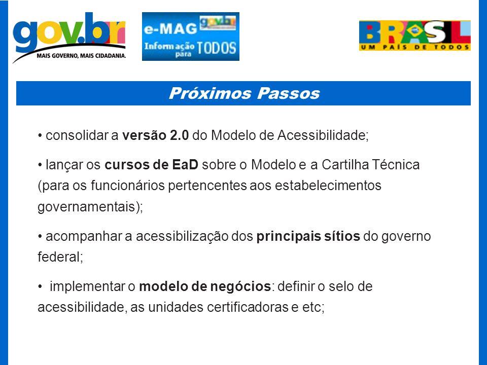 Próximos Passos consolidar a versão 2.0 do Modelo de Acessibilidade;