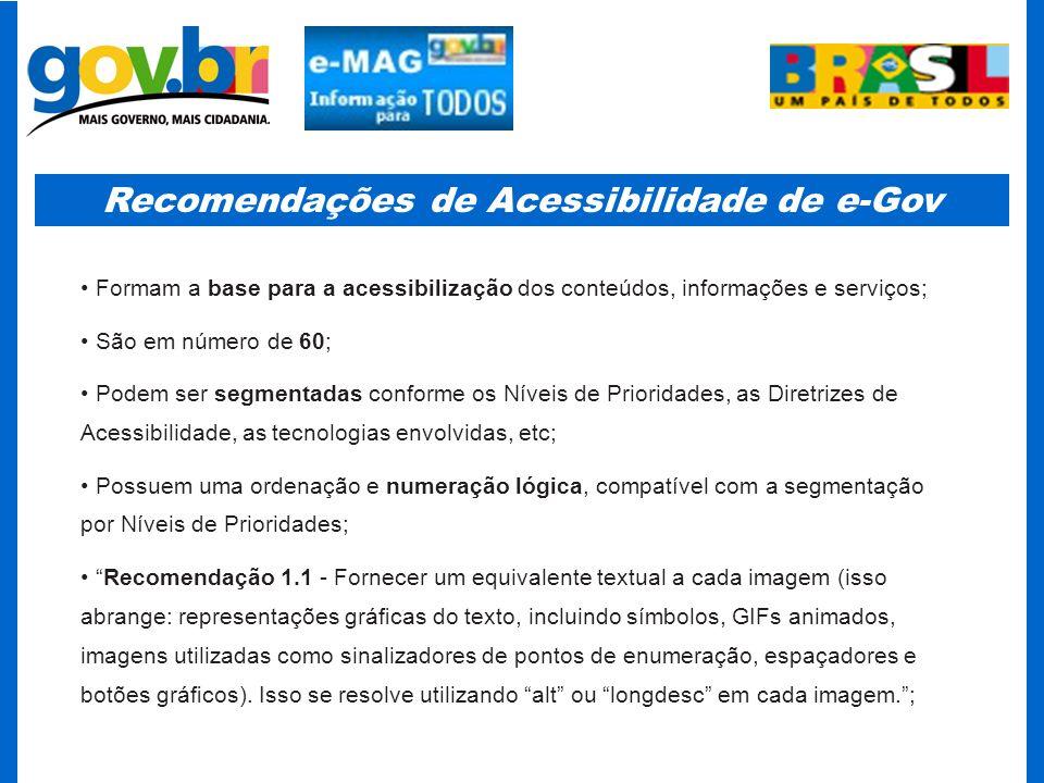 Recomendações de Acessibilidade de e-Gov