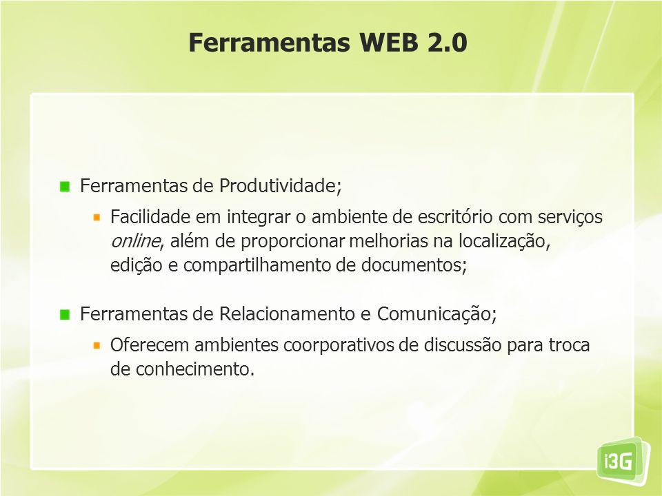 Ferramentas WEB 2.0 Ferramentas de Produtividade;