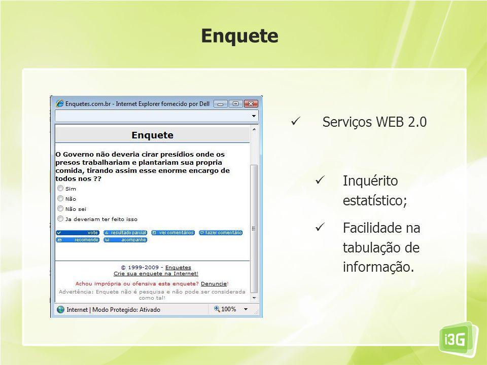 Enquete Serviços WEB 2.0 Inquérito estatístico;
