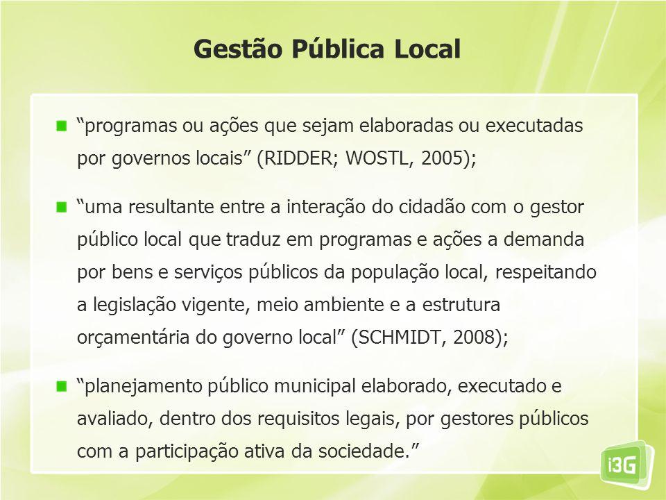 Gestão Pública Local programas ou ações que sejam elaboradas ou executadas por governos locais (RIDDER; WOSTL, 2005);