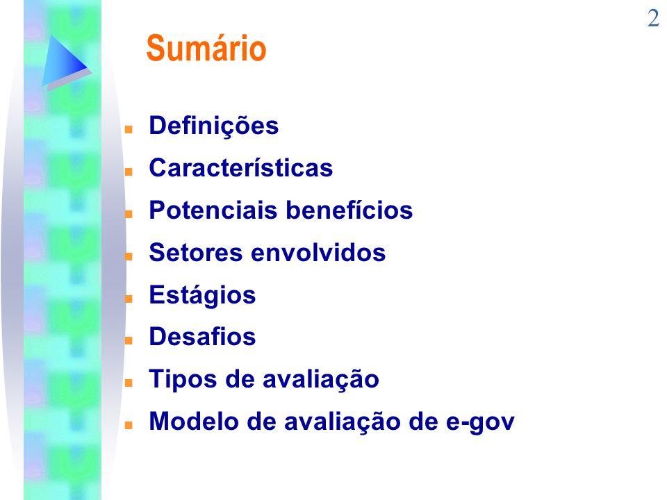 Sumário Definições Características Potenciais benefícios